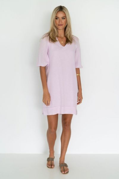 Humidity Linen Promise Dress In Lilac