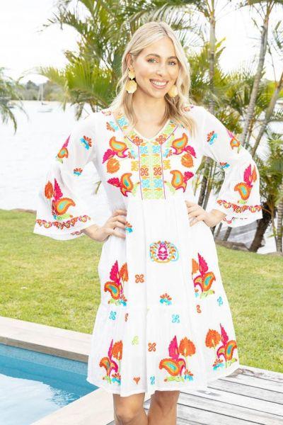 Lula Life Winnie Tiered Dress In White