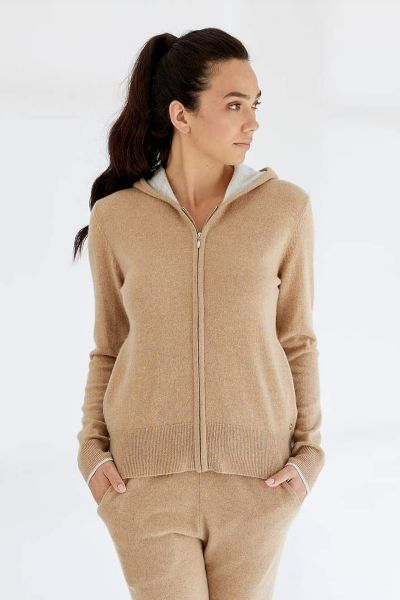 Mia Fratino Pure Zip Hoodie In Camel