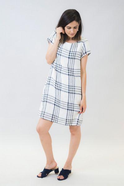 Naturals Linen Shift Dress In White