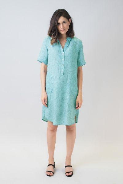 Naturals Linen Shirt Dress In Green