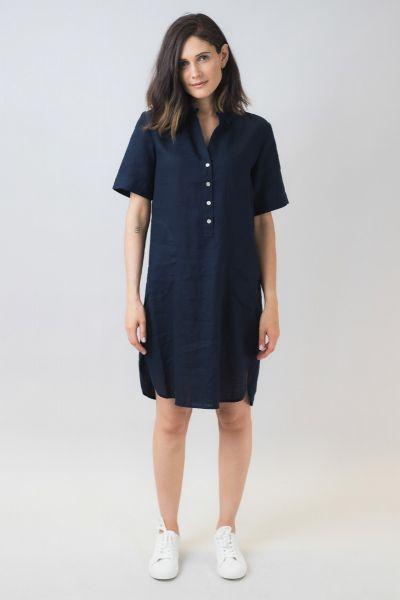 Naturals Linen Shirt Dress In Navy