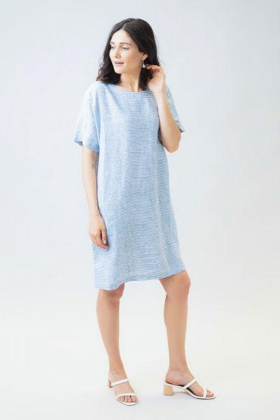 Naturals Linen Tee Dress In Stripe