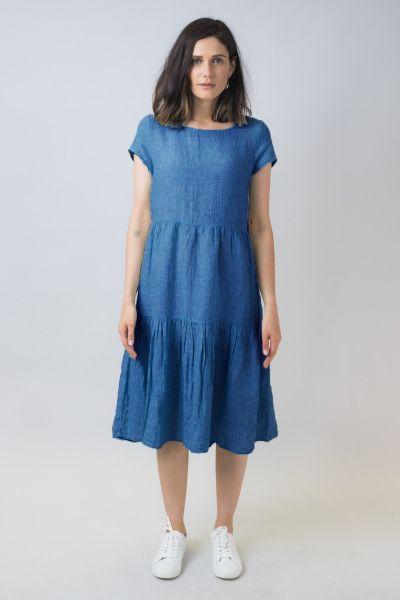 Naturals Linen Tiered Dress In Indigo