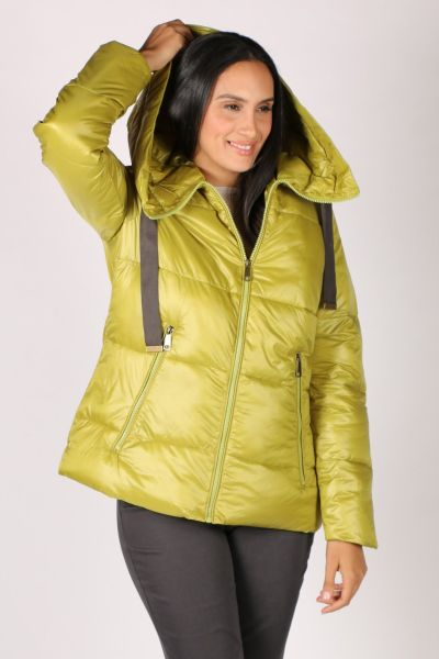 Paz Torras Ribbon Tie Puffer In Lime