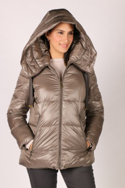Paz Torras Ribbon Tie Puffer In Taupe