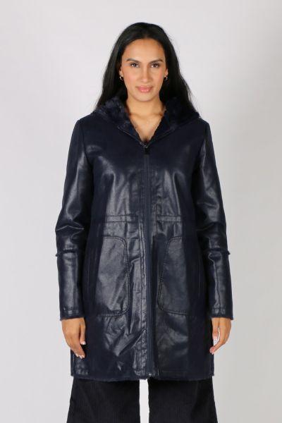 Paz Torras Retro Faux Leather Coat In Navy
