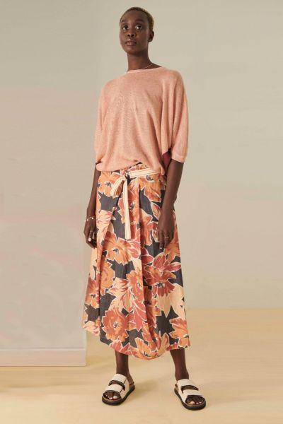 POL Linen Sangria Skirt In Print