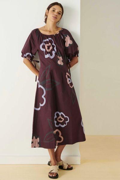 POL Berry Poppy Tie Dress