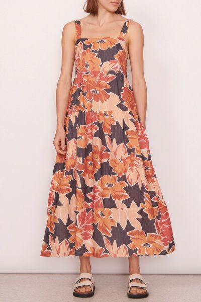 POL Linen Sangria Tiered Dress In Print
