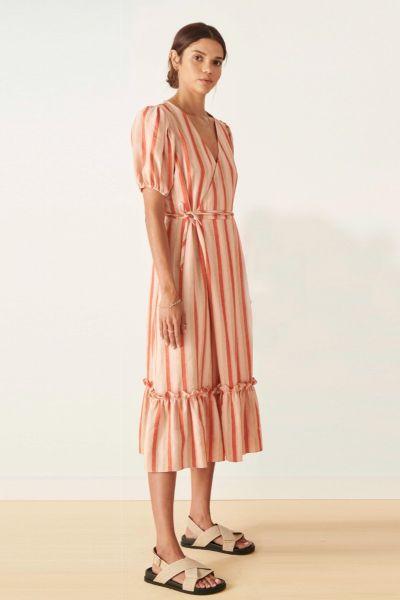POL Miller Wrap Dress In Stripe