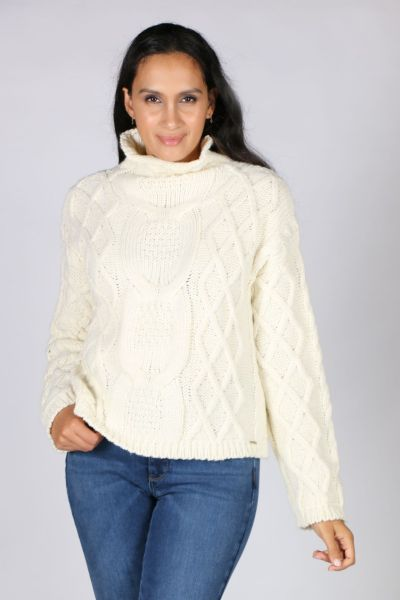 Aggel Cable Knit Jumper In Ivory