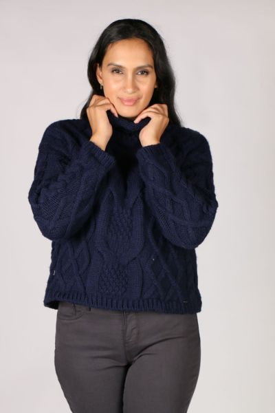 Aggel Cable Knit Jumper In Navy