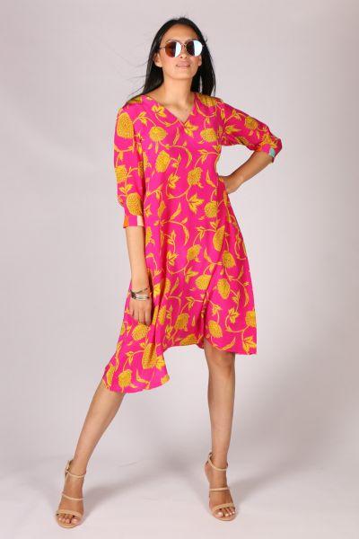 Anupamaa Asana Fuchsia Chrysanthemum Dress