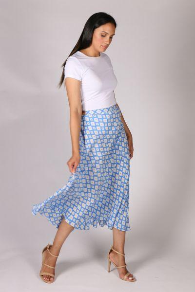 Anupamaa Bias Diamond Skirt in Blue
