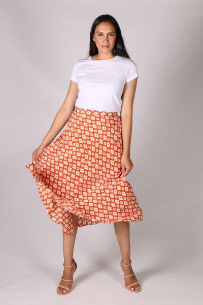 Anupamaa Bias Diamond Skirt In Orange