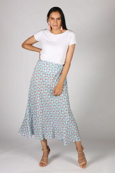 Anupamaa Bias Turkisk Tile Skirt In Aqua