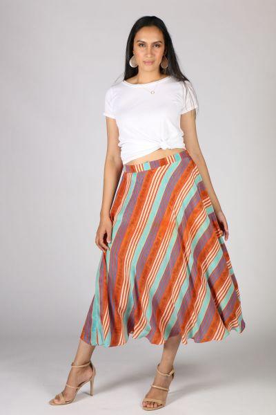 Anupamaa Bias Multi Stripe Skirt