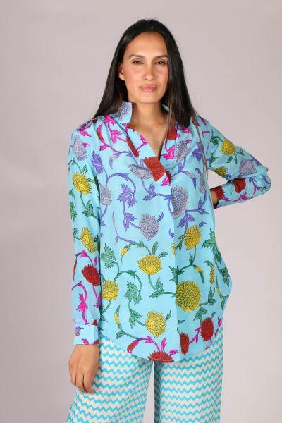 Anupamaa Rome Floral Shirt In Aqua