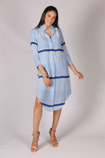 Anupamaa Rome Stripe Dress In Blue