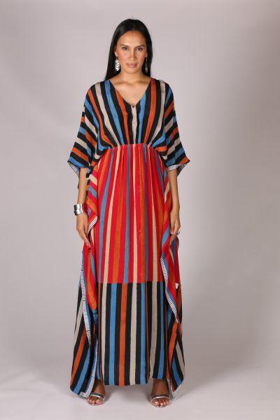 Anupamaa Sangeet Stripe Dress In Blue Multi