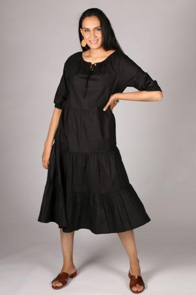 Bagruu Agra Midi Dress In Black