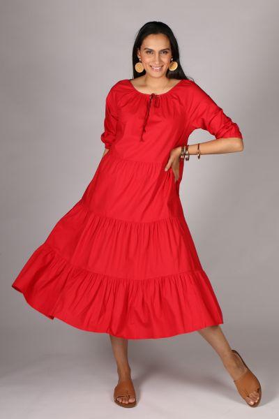 Bagruu Agra Midi Dress In Chilli