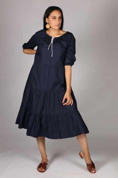 Bagruu Agra Midi Dress In Navy