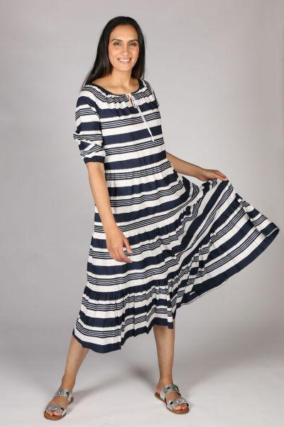 Bagruu Agra Midi Stripe Dress In Navy