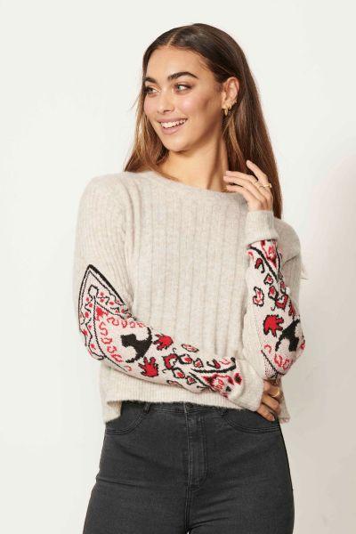 Caju Embroidered Jumper In Natural