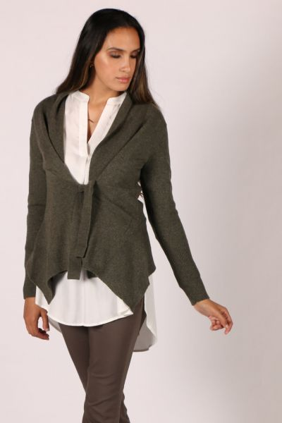 Cashmerism Tie Front Cardi In Forest
