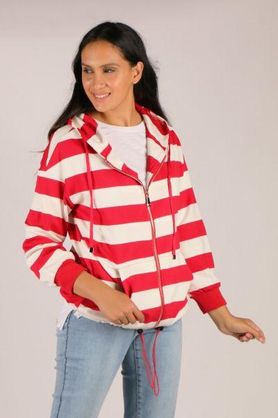 Hammock & Vine Marine Stripe Jacket In Red