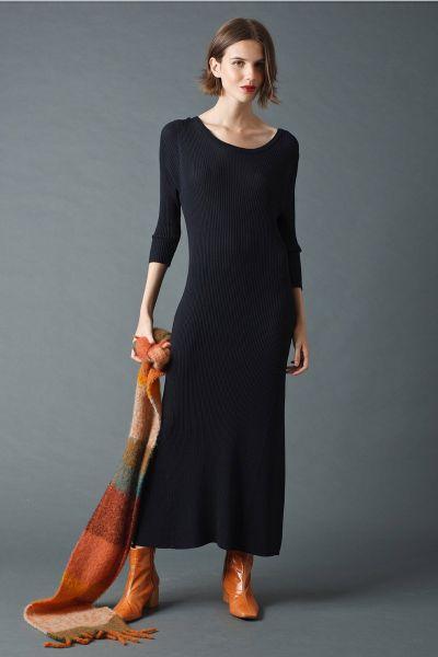Indi & Cold Ribbed Midi Dress In Black