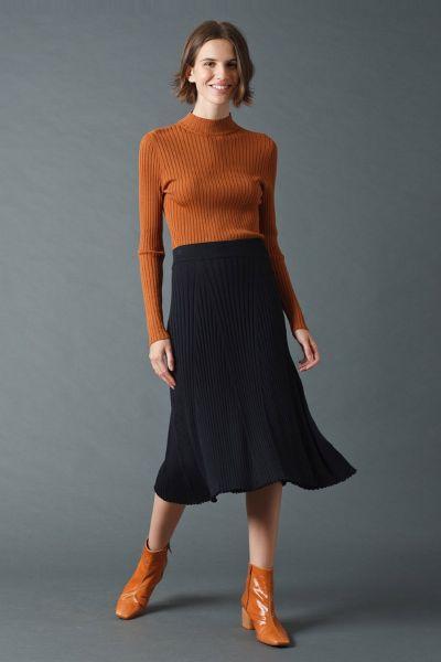 Indi & Cold Ribbed Midi Skirt In Black