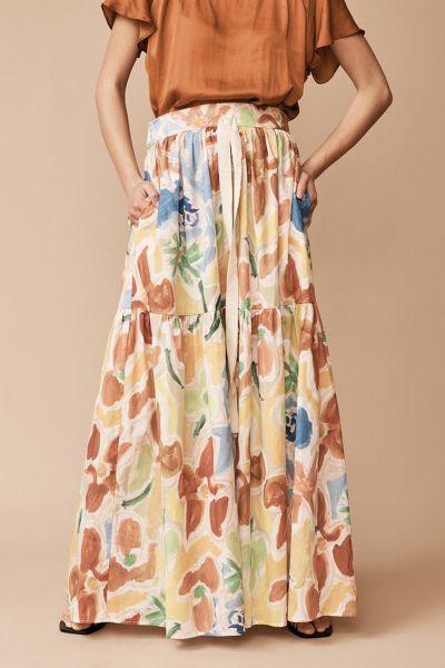 Layerd Bar Skirt In Print