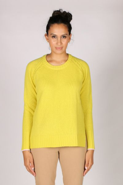 LD & Co Round Neck Trim Jumper In Lime