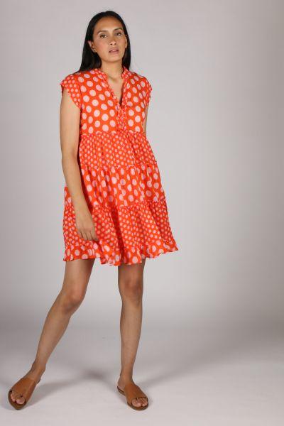 Lula Life Spot Tier Dress In Orange