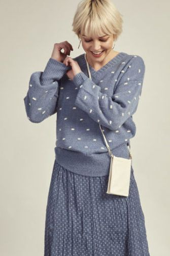 Madly Sweetly Dot Dash Jumper In Blue