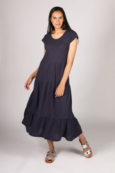 POL Tiered Jersey Dress In Navy