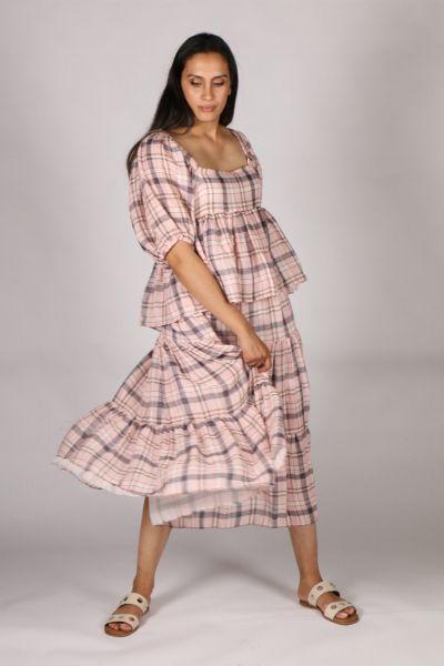 POL Pink Checkers Maxi Skirt