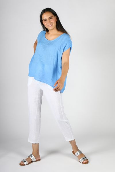 Ridley Slim Linen Pant In White