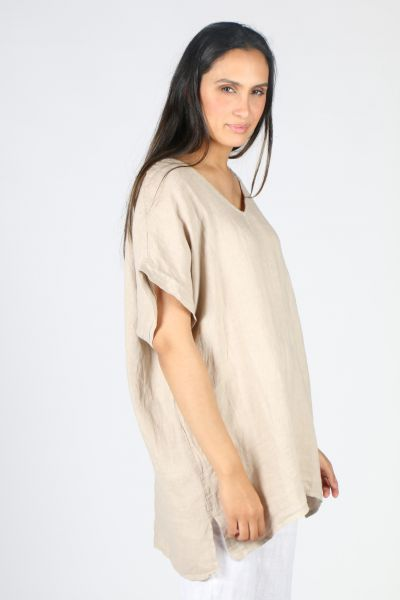 Ridley V Neck Top In Sand