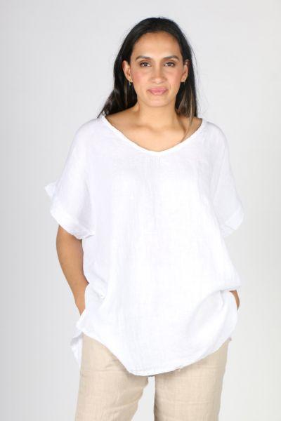 Ridley V Neck Top In White