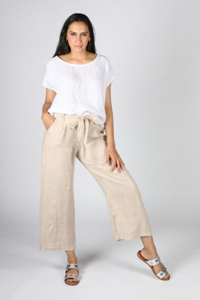 Ridley Wide Leg Linen Pant In Sand
