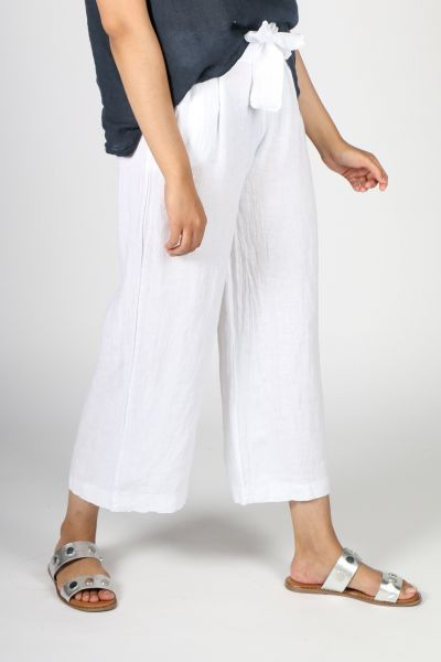 Ridley Wide Leg Linen Pant In White