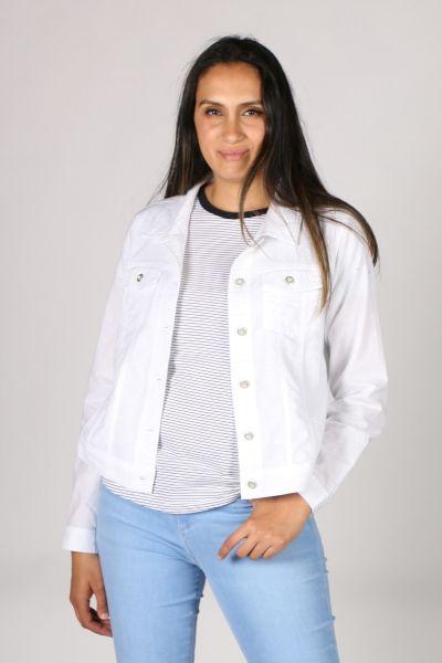 Threadz Classic Denim Jacket In White